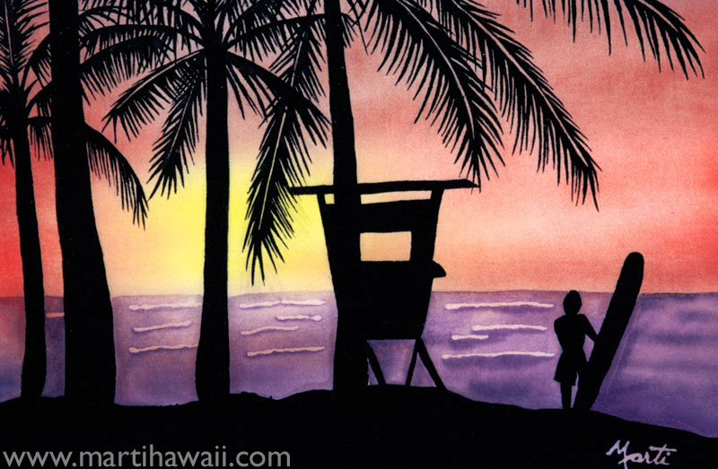 Sunset Lifeguard by Marti Wiese Rounds