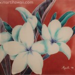 White Blue Plumerias