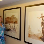 Marti next to her art in Waikiki Hilton Tower